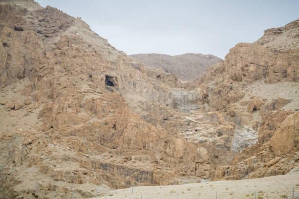 Qumran Caves in Judaean Desert, Israel stock photo