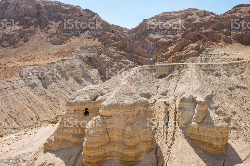 Qumran Caves in the Desert - The Holy Land stock photo