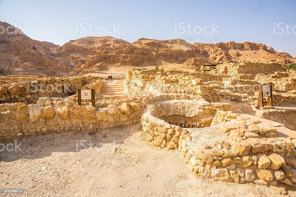 Qumran, where the dead sea scrolls were found stock photo
