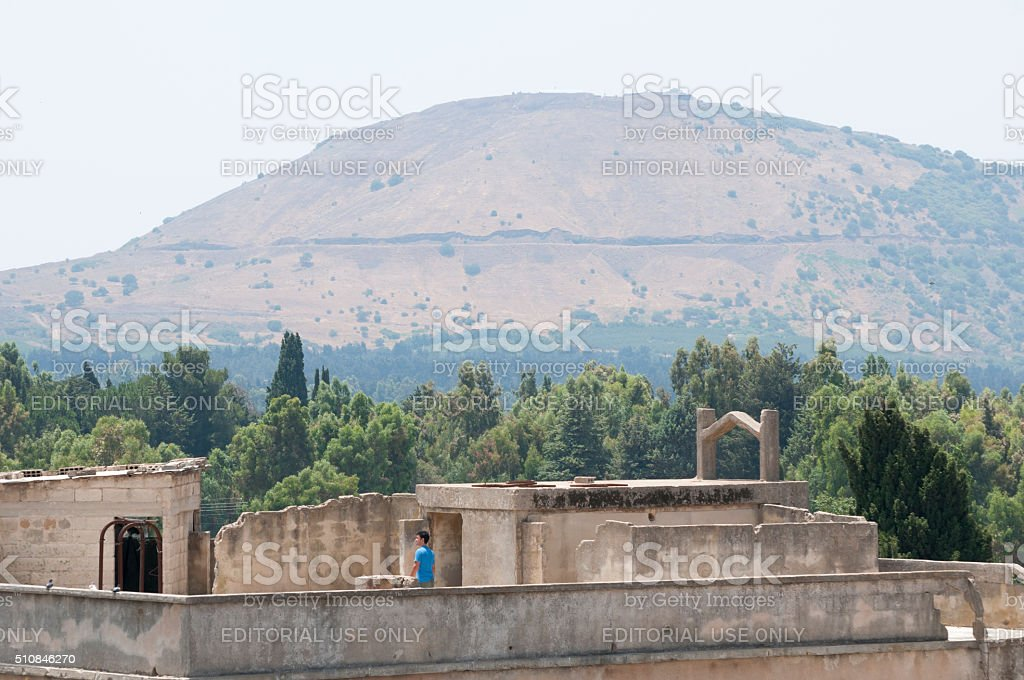 Quneitra, Syria and Israeli-controlled Golan Heights stock photo