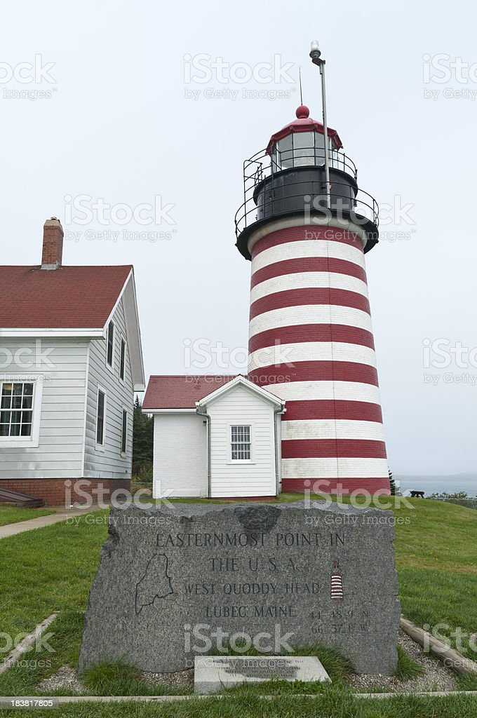 Quoddy Head Lighthouse with Marker stock photo