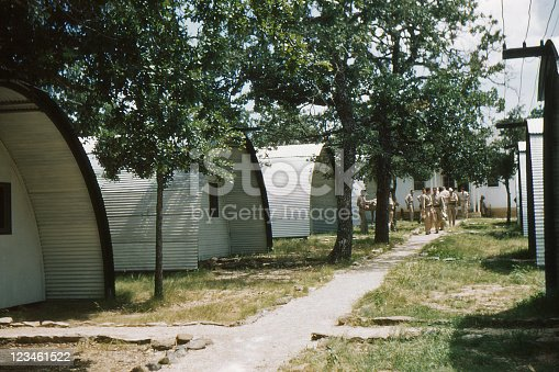 WWII quonset huts at Randolph Field, San Antonio, Texas. 1949. Kodachrome scanned film with grain.