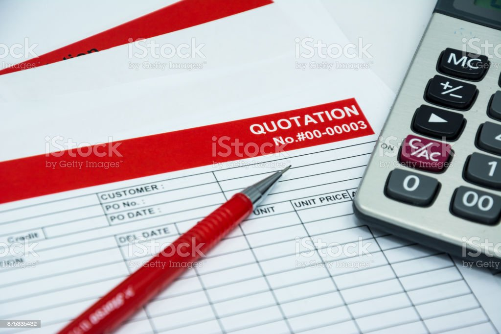 Quotation business document on paper background stock photo
