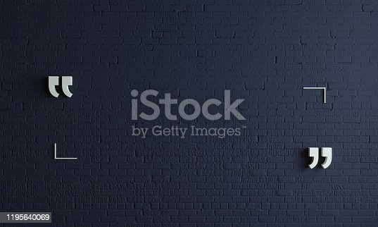 3D illustration. Massive quotation mark in a dark room. Modern conceptual interior. Background for banner