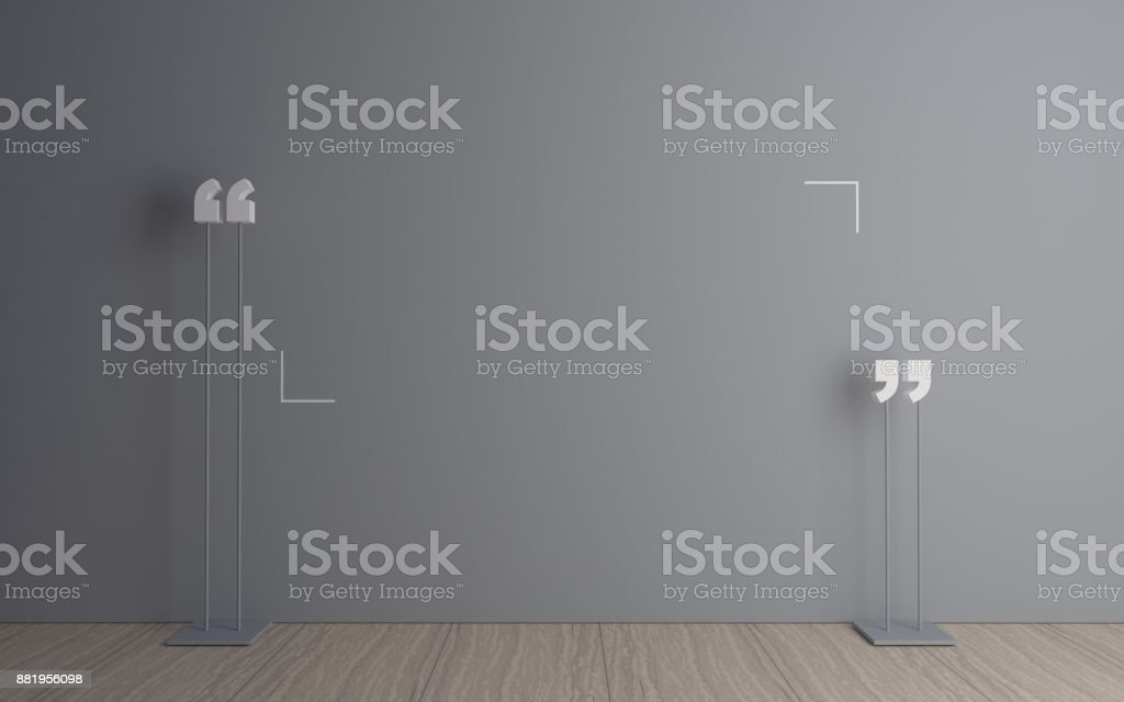 Quotation mark in the room stock photo