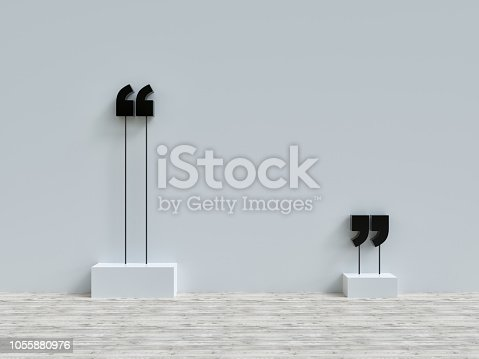 Quotation Mark, Grey Wall, Typescript, Single Word