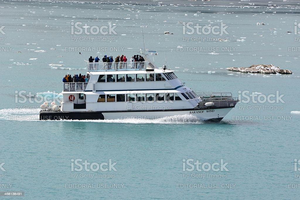 """Baranof Wind"" Sightseeing Boat Tours Mountains in Glacier Bay, Alaska royalty-free stock photo"