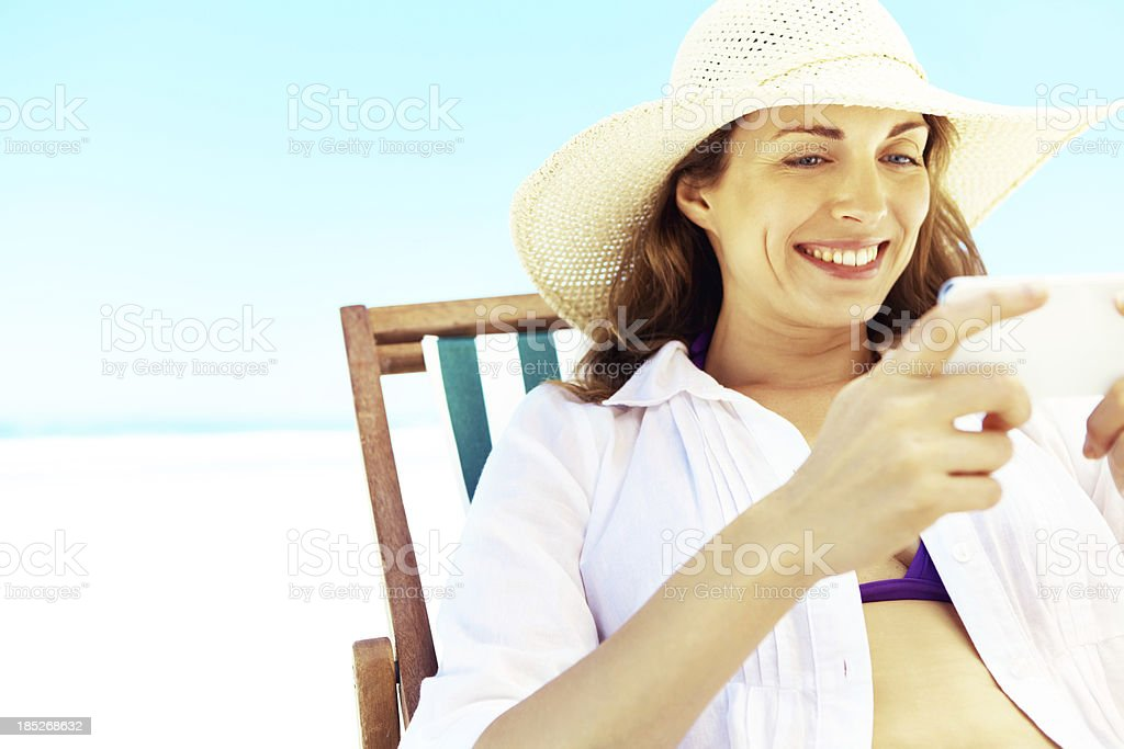 """""""Checking in"""" at the beach royalty-free stock photo"""