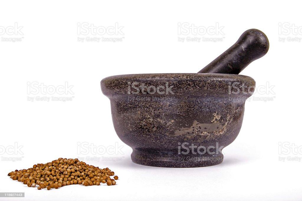 """Coriandrum sativum"" or  coriander and mortar royalty-free stock photo"
