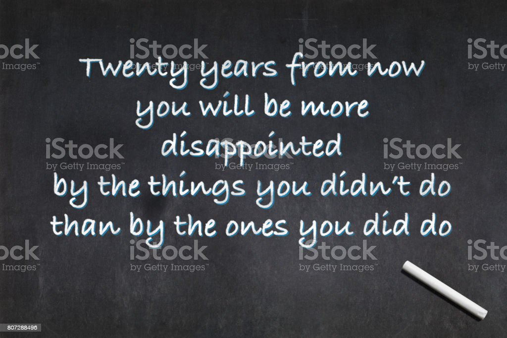 Quote from Mark Twain about regret stock photo