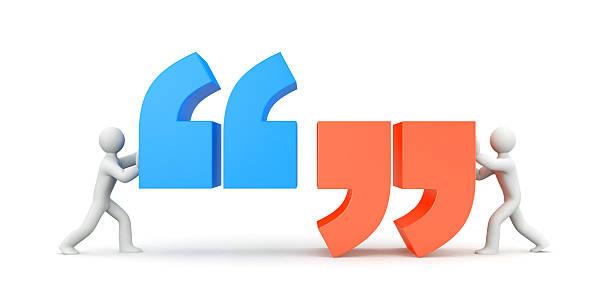 quote. people and quote symbol. 3d illustration - komma stock-fotos und bilder
