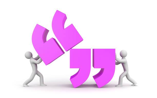angebot. menschen und zitat symbol. 3d illustration - komma stock-fotos und bilder