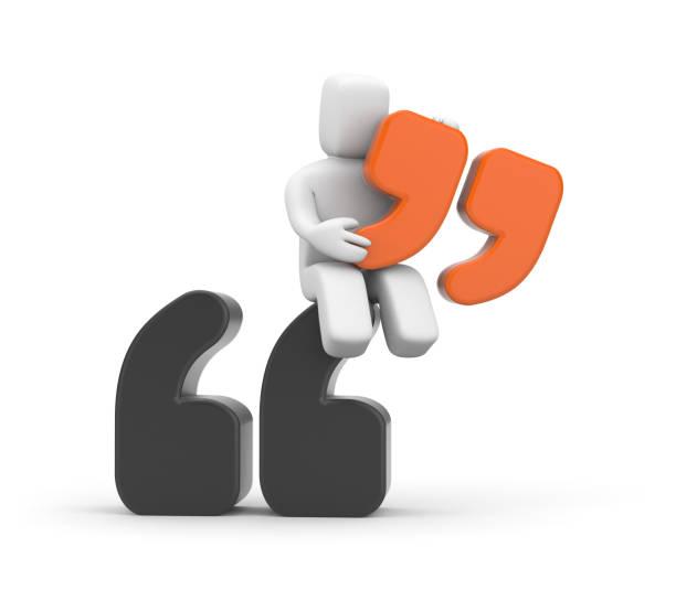 angebot. person und zitat symbol - komma stock-fotos und bilder