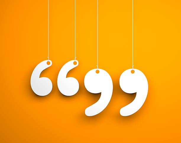 quote sign - text hanging on the ropes - komma stock-fotos und bilder