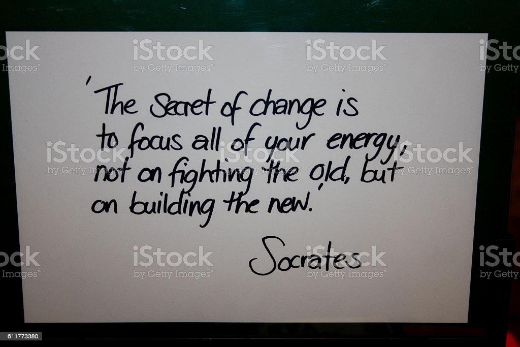 Quote Socrates stock photo