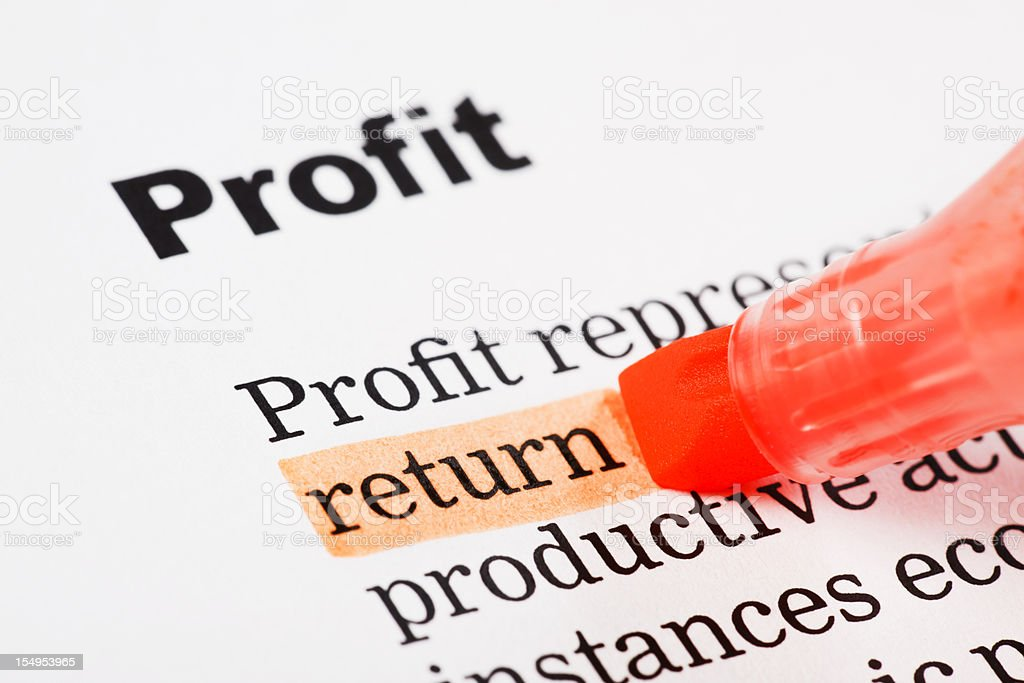 """return"" highlighted in red on printed document headed ""Profit"" royalty-free stock photo"