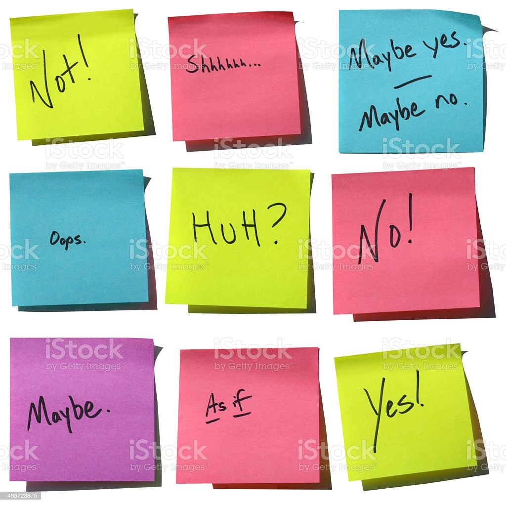 """""""Say it with Stickies"""" Responses - Yes, No, Maybe royalty-free stock photo"""