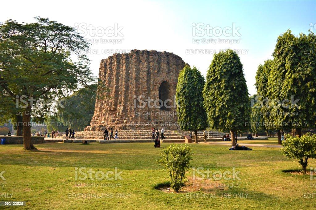 Qutub Minar complex stock photo
