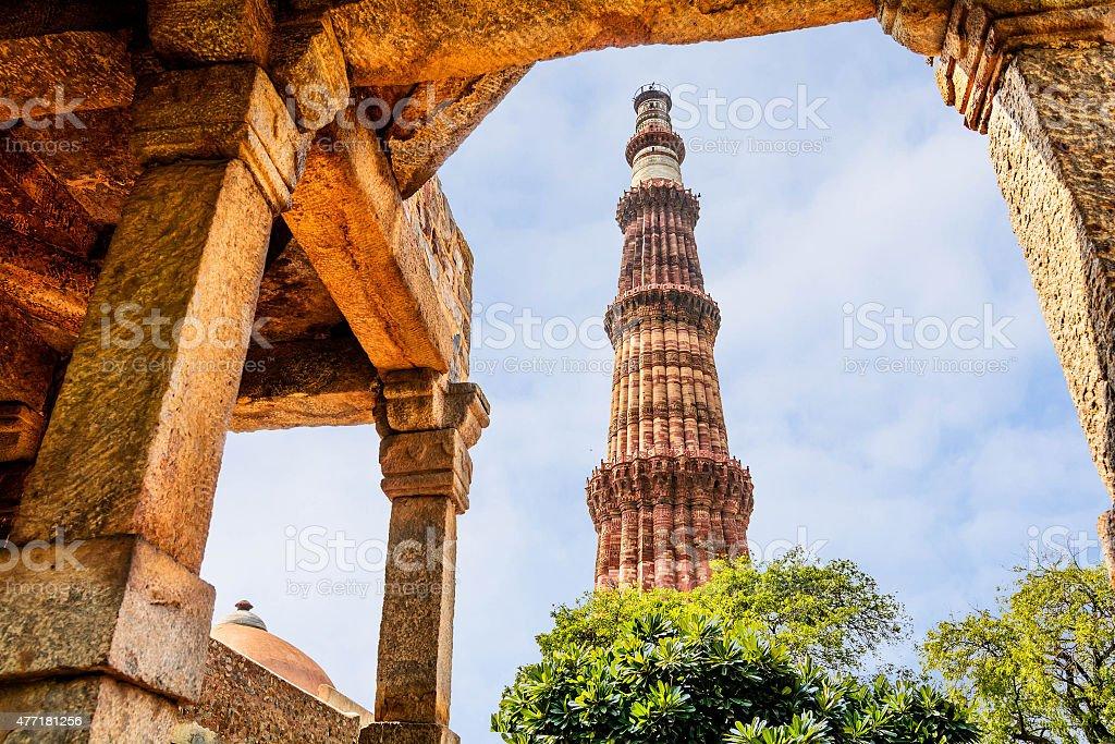Qutub Minar Tower, Delhi India stock photo
