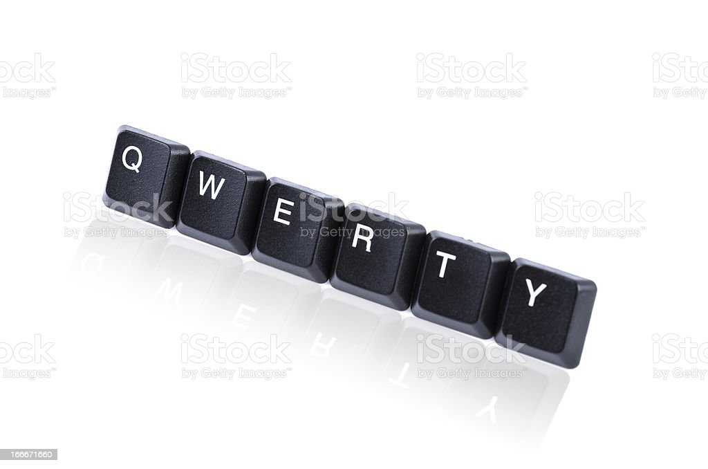 Qwerty keys with reflection royalty-free stock photo