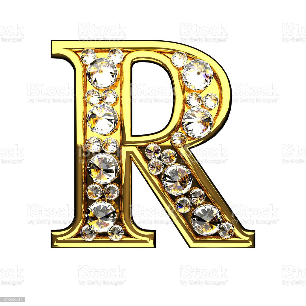r isolated golden letters with diamonds on white stock photo