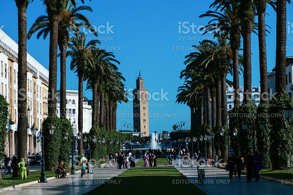 Rabat, Avenue Mohammed V stock photo