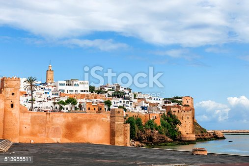 The historical Medina of the city of Rabat, capital of Morocco, viewed from the Bou Regreg River.
