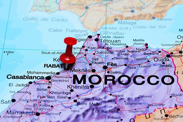 rabat pinned on a map of africa - rabat marocko bildbanksfoton och bilder