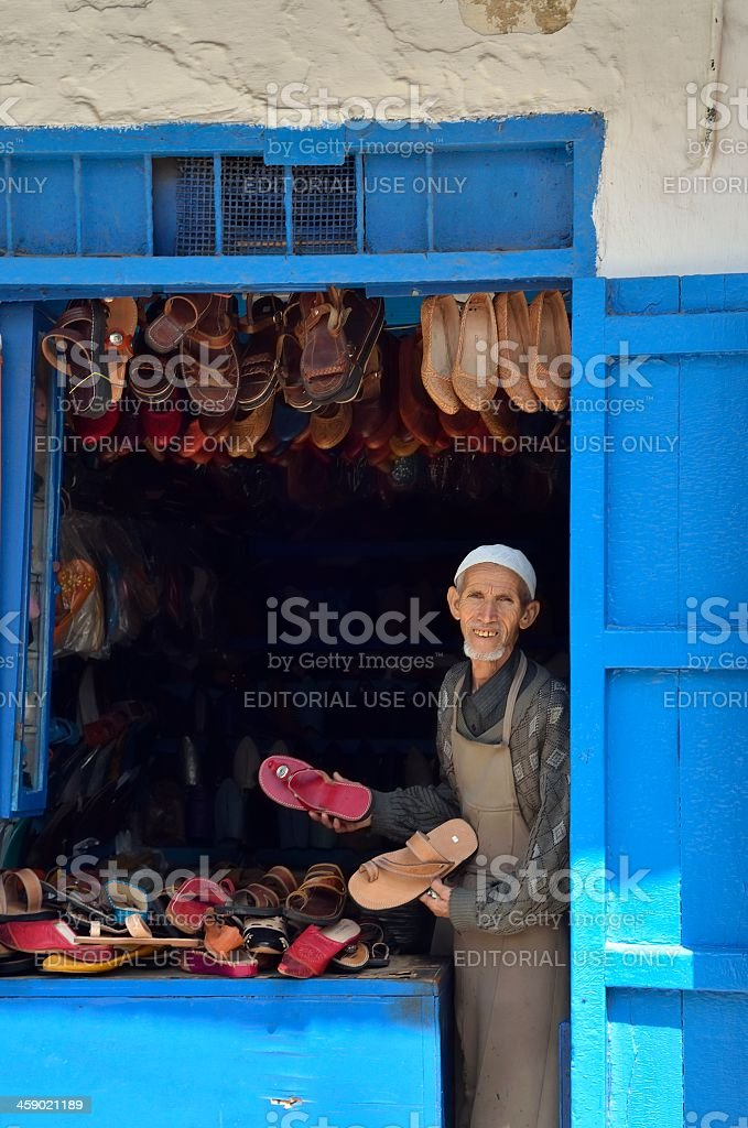 Rabat Shoe Vendor In Kasbah des Oudaias stock photo