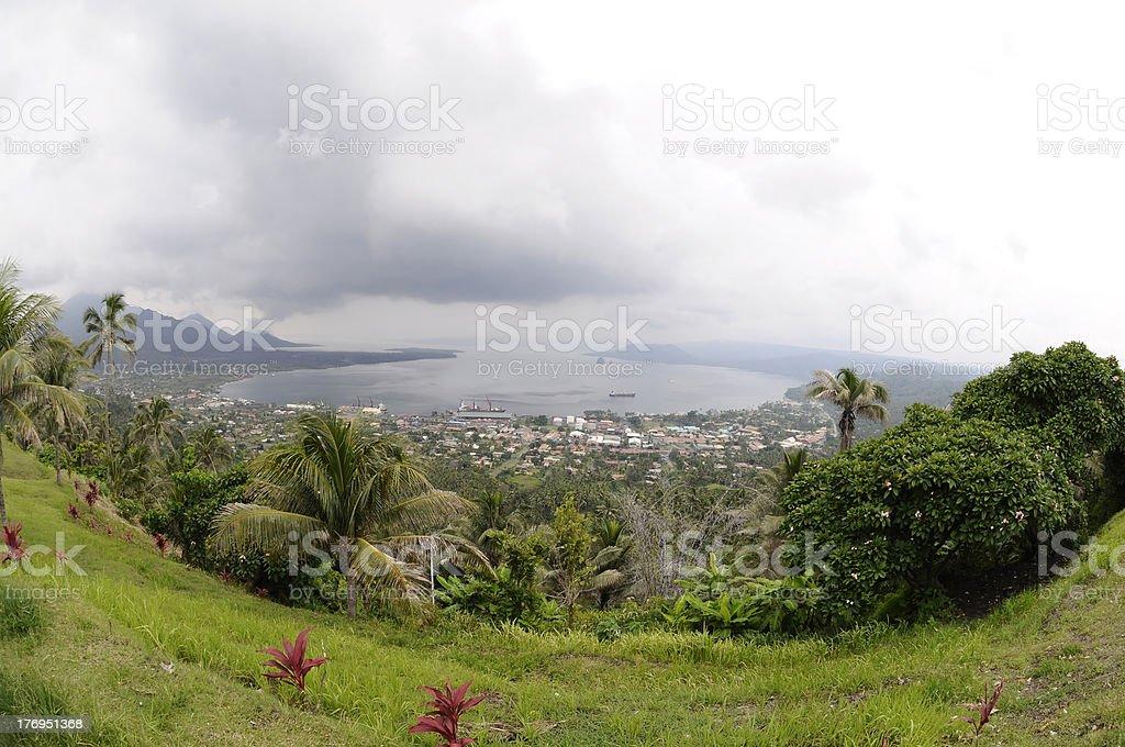 Rabaul Caldere and Volcano Tavurur stock photo
