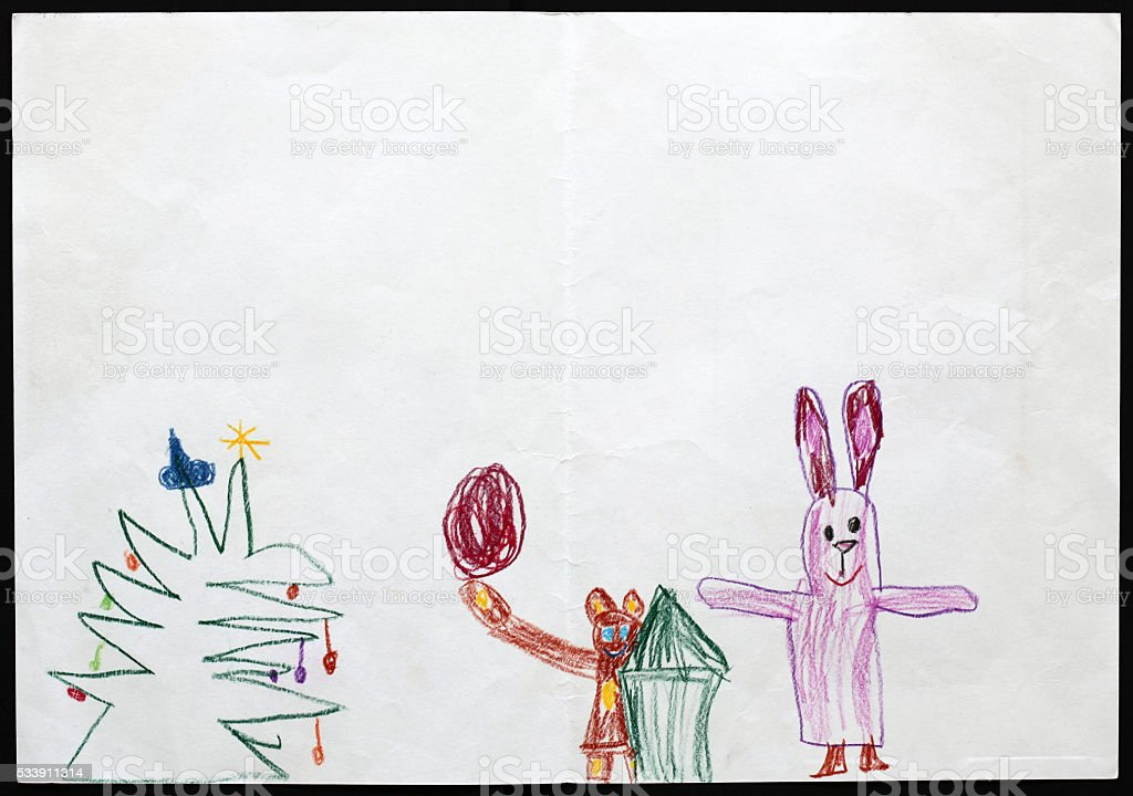Rabbit and Bear next to the Christmas Tree. Child's Drawing. stock photo