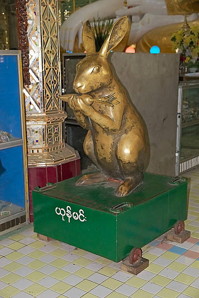 rabbit at the sone oo pone nya shin pagoda, myanmar - pone stock photos and pictures