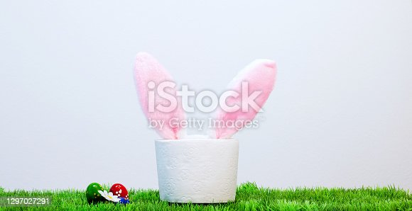 istock Rabbit ears peek from toilet paper. Bunny ears out of toilet paper roll. Easter holiday 2021 during Covid-19 1297027291