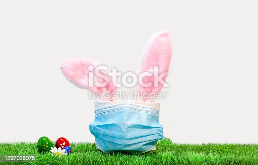 istock Rabbit ears peek from toilet paper. Bunny ears out of toilet paper roll. Easter holiday 2021 during Covid-19 1297028078