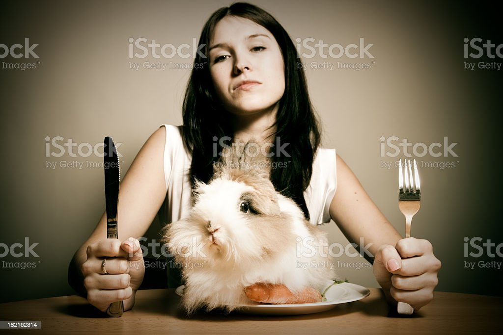 rabbit for dinner stock photo