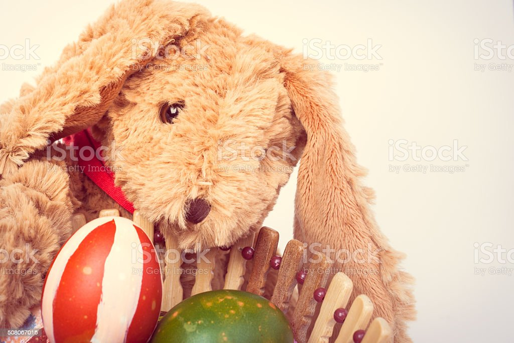 Rabbit, holding and take care colorful easter eggs in basket stock photo