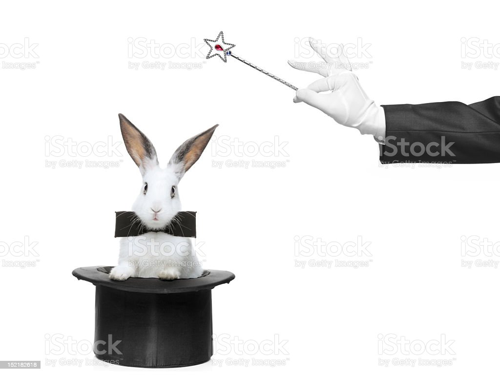 Rabbit in a top hat and bow tie, the magician has wand stock photo