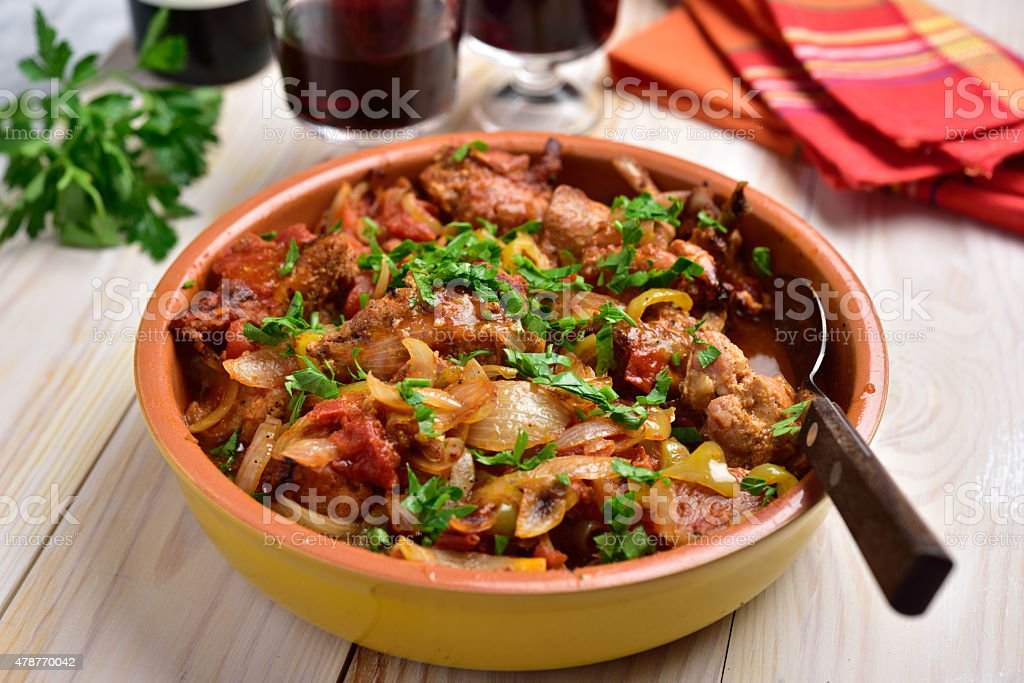 Rabbit stew a basque stock photo