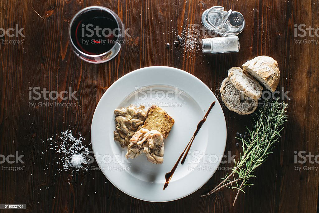 Rabbit with mushrooms stock photo