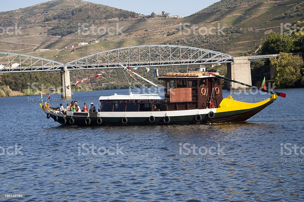 Rabelo Boat in Douro Valley royalty-free stock photo