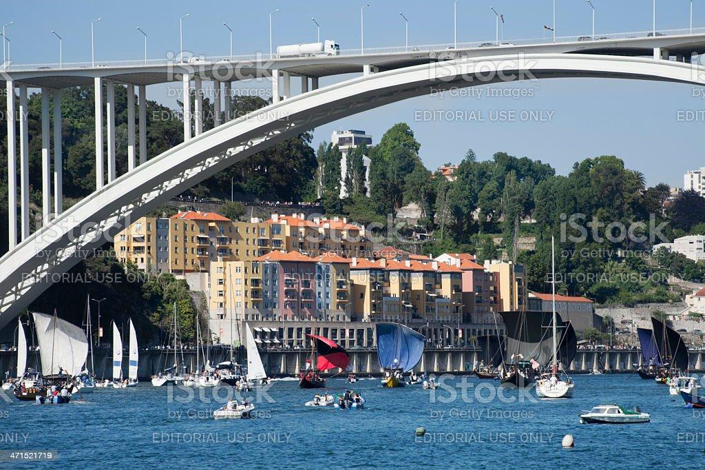 Rabelo Boats in Porto stock photo