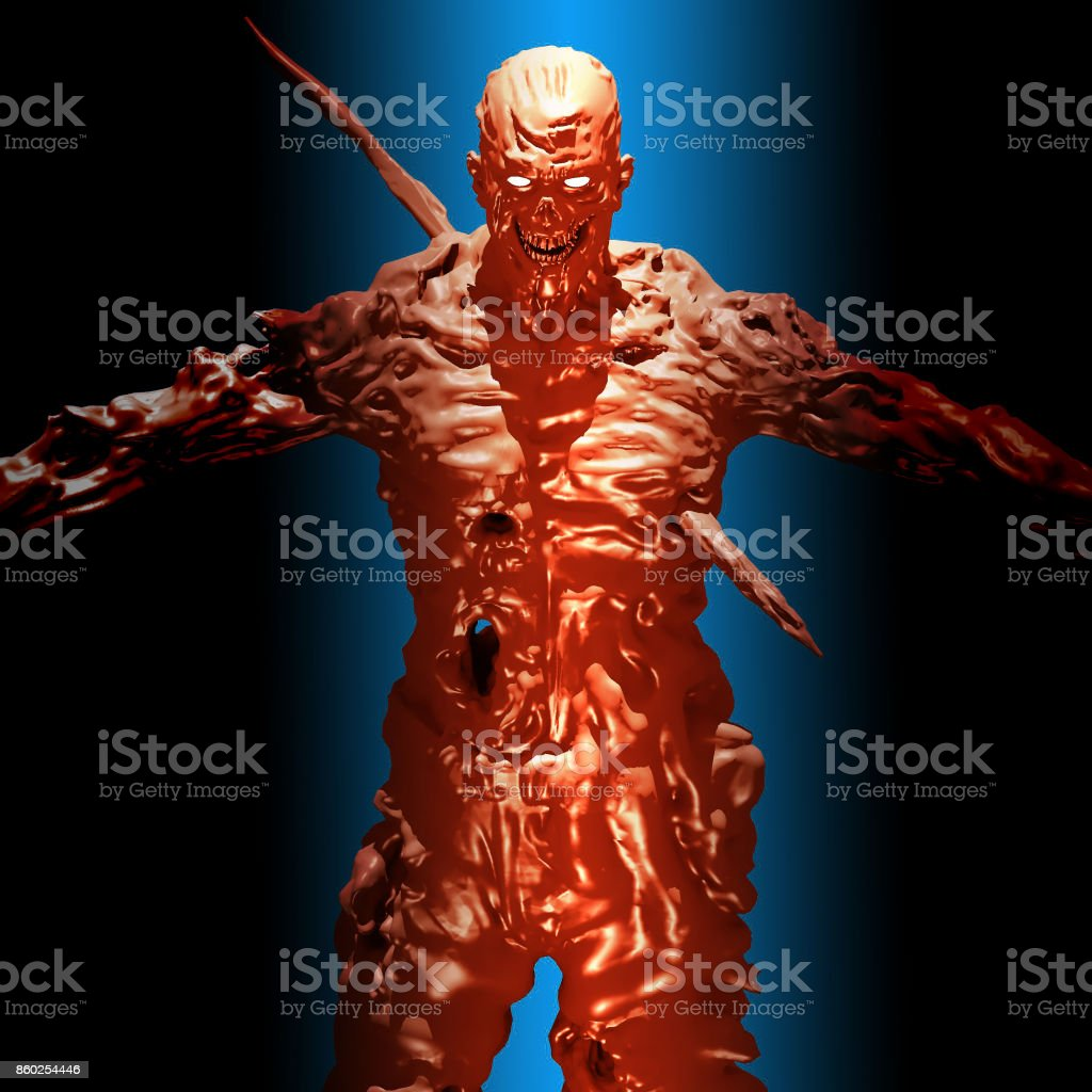 Rabid zombie attack on blue background. 3D illustration. stock photo