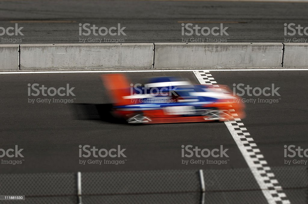 Race Car Crossing Finish Line stock photo