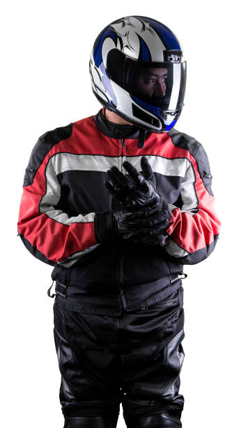 Race Car Driver or Motorcycle Biker on White Background stock photo