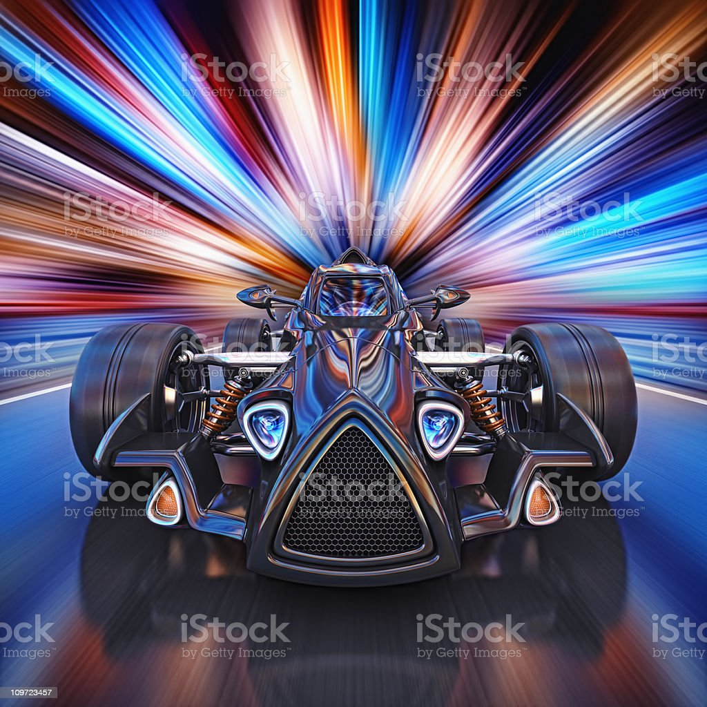 race car in the city royalty-free stock photo