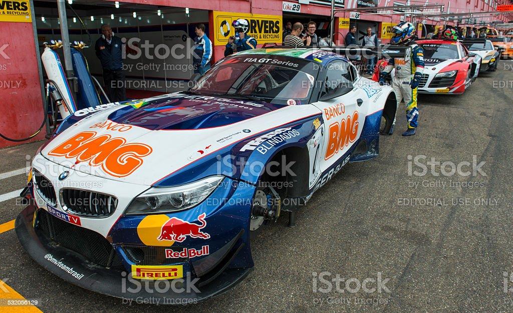 BMW Z4 race car in the pit lane stock photo