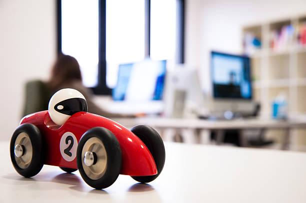 Race car model on a web agency desk stock photo