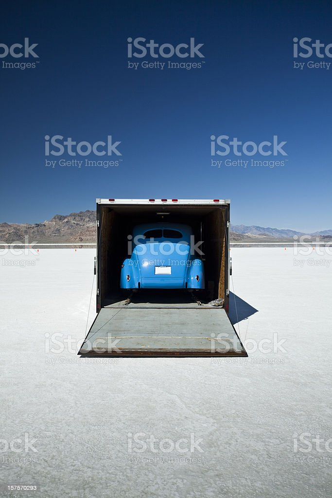 Race car on the flats in UT stock photo