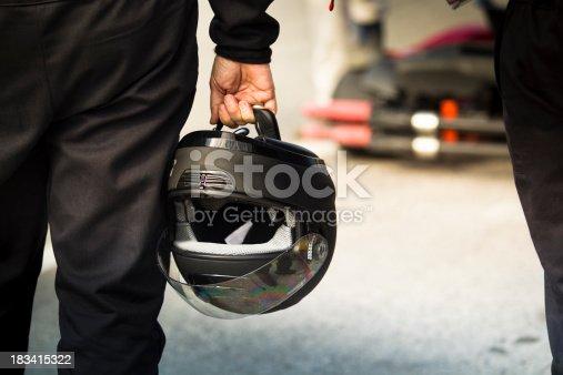 Race car driver before a race