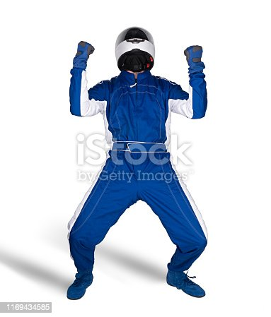 Race driver in blue white motorsport overall shoes gloves and safety gear crash helmet celebrating after winning isolated on white background. Car racing motorcycle sport concept.